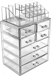 Sorbus Acrylic Makeup Cosmetic and Jewelry Storage Case Clear