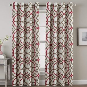 H.VERSAILTEX Thermal Insulated Blackout with Red Geo Pattern Grommet Curtain for Living Room