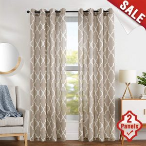 jinchan- Moroccan 84 inch Tile Design Linen Living Room Curtains