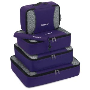 Gonex Packing Cubes Organizer Travel Luggage with Shoe Bag (Purple)