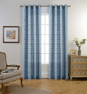 Miuco Floral Embroidered Living Room Semi-Sheer Curtains