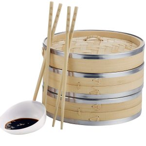 VonShef Premium two Tier Bamboo Steamer, 10 Inches