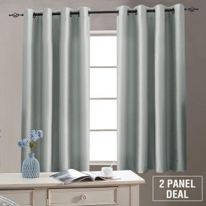 Faux Silk Window Curtains 63 inch Length for Living Room, 1 Pair