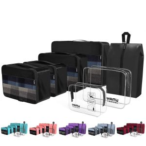 YAMIU 7-Pcs Packing Cubes Travel Organizer (Black)