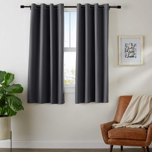 AmazonBasics Room-Darkening 42inches x 63 inches Blackout Curtain Set