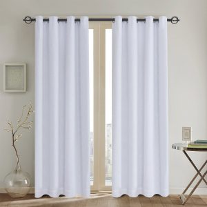 Rose Home Fashion Primitive Linen Look White blackout curtains