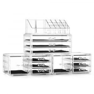 Felicite Home Acrylic Cosmetic and Jewelry Makeup Organizer Set