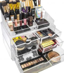 Sorbus Acrylic Cosmetics and Jewelry Makeup Storage Case (Clear)