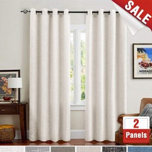 jinchan- Cream White 84 Inches Linen 2 Panels Textured Curtains for Bedroom