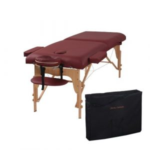 Heaven Massage 2 Fold PU Leather Burgundy Portable Massage Table