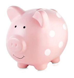 Pearhead Ceramic Pink Unique Gift Piggy Bank, Savings Piggy Bank