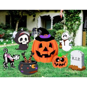 Unomor Yard Decorations Outdoor Skeleton Ghost & Pumpkin Yard Stake Signs Set