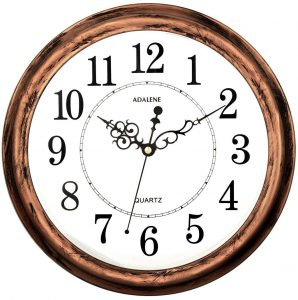 Adalene Large 13 Inch Non-Ticking Decorative Silent Wall Clock