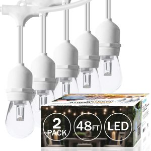 SUNTHIN 2-Pack 48ft Dimmable White Outdoor String Lights