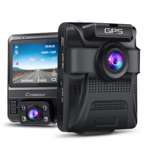 Crosstour Uber Dual Lens Built-in GPS Dash Cam with G-Sensor and WDR