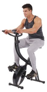 PLENY Foldable 16 Level Resistance Upright Stationary Exercise Bike