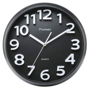 Plumeet Large Number 13 inches Wall Clock (Black)