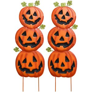 Gift Boutique Stacked Metal Jack-O-Lanterns Garden Stakes