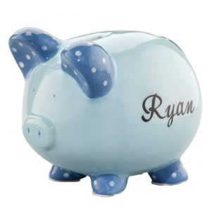 Miles Kimball-Personalized Blue Ceramic Kids Piggy Bank