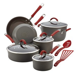Rachael Ray 12-Piece Cucina Hard, Gray, Red Handles