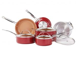 BulbHead (10824) Ceramic 10 PC Copper-Infused Cookware Set