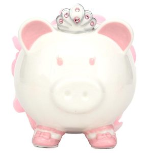 Swarovski with Crown Princess Kids Porcelain Piggy (Pink)