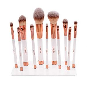 Luxley Beauty Professional magnetic white & pink rose gold full makeup brush set.