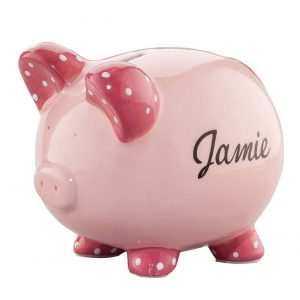 Miles Kimball Ceramic Kids Personalized Piggy Bank - Pink