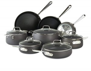 All-Clad 13 Piece Nonstick Cookware Set, Black