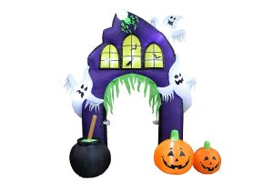 BZB Goods 9 Ft Tall Halloween Inflatable Castle Archway with Pumpkins & Ghosts LED Lights