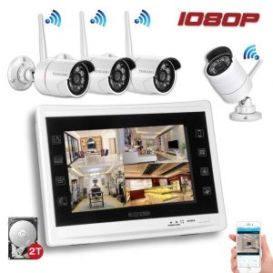 YESKAM Wireless Security Camera System 1080P with 12'' LCD, 2MP and 2TB HDD