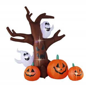 Bigjoys 8 Feet Halloween Inflatable Tree with Ghost Pumpkin Decoration