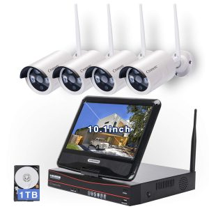 Cromorc Wireless Security Camera System with WiFi CCTV 4CH 1080P NVR and 1 TB HDD