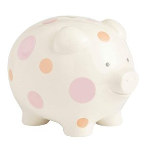 Enesco Polka Dot 7 inches Piggy Bank- Pink
