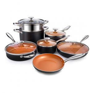 Michelangelo Set 12 Piece Copper Cookware Nonstick Cookware Set