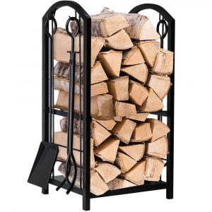 Amagabeli Garden & Home Log Rack Indoor Outdoor Firewood Rack with 4 Tools