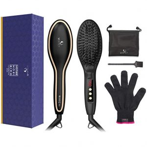 USpicy MCH heating technology Hair straightener Brush with Heat Resistant Glove