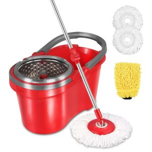 HAPINNEX Spin Wringer Self-Balanced Mop Bucket Set