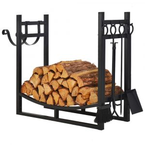 Patio Watcher 3' Firewood Rack Wood Storage Log Holder with 4 Bonus Tools