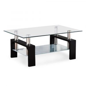 SUNCOO Coffee End Side Rectangle Shape Table with Clear Glass