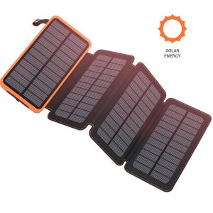 Benfiss Solar Charger 25000mAh, 4 Solar Panels Fast Charger Power