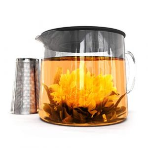 Kiss Me Organics Glass Teapot with Removable Strainer and Tea Infuser