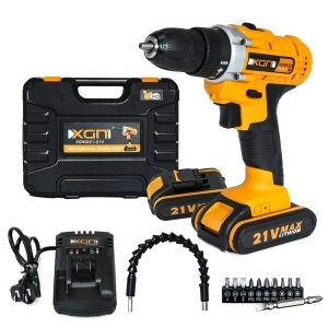 XGN Cordless Electric Drill:ScrewDriver 15+1 Clutch Positions with 2 Li-Ion Batteries