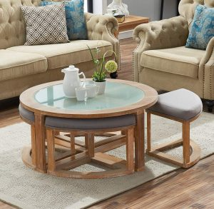O&K Furniture Frosted Glass Round Coffee Table