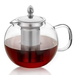 Hiware Glass Microwavable Teapot with Removable Infuser and Tea Strainer