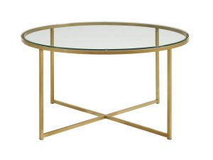 WE Furniture 36 inches Glass Coffee Table
