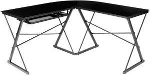 AmazonBasics Three Piece Glass Desk