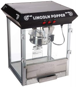 Great Northern Popcorn 8 Ounce Black Bar Style Lincoln Popcorn Machine