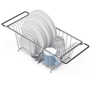 Over the Kitchen Sink Chrome Dish Drying Rack