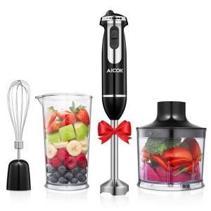 Aicok 4-in-1 Immersion Blender 6-Speed Stainless Steel Electric Hand Mixer